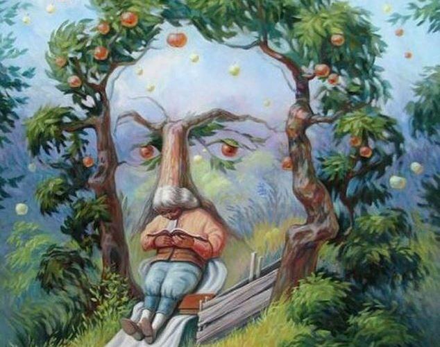 Ce vezi prima dată în această imagine: mărul, chipul sau persoana care citește? Răspunsul pe care îl dai îți spune totul despre personalitatea ta!