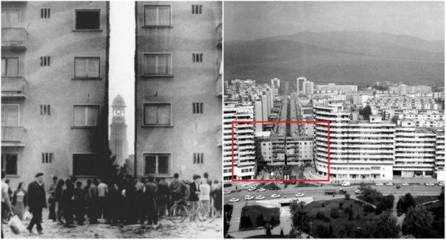 (foto) Recorduri comuniste: inginerii lui Ceaușescu au tăiat în două un bloc de 7.000 de tone, l-au mutat 70 de metri, în 5 ore și 40 de minute
