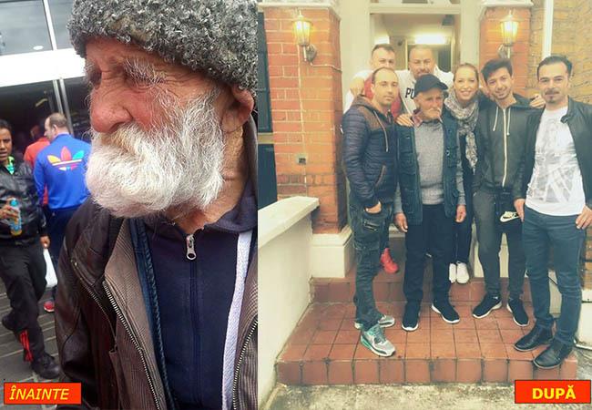 A fost dus la cerşit în Londra,dar mai mulţi tineri români l-au luat de pe stradă, l-au bărbierit, frezat şi îmbrăcat! Cum arata acum moş Pătru…