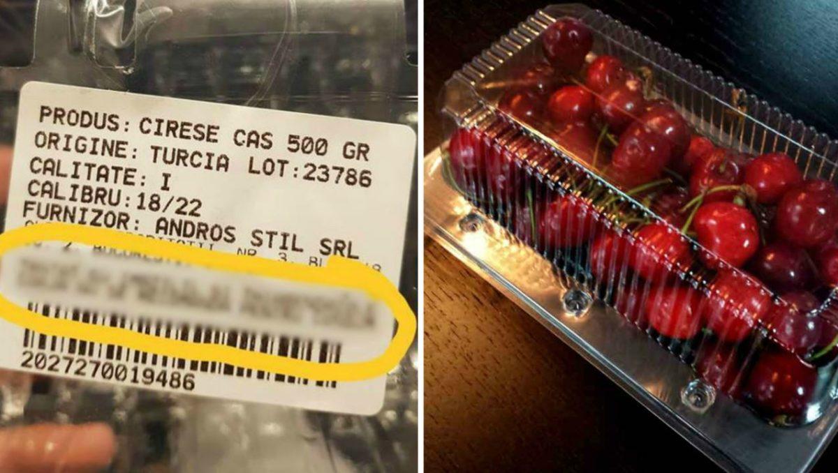 Un român a cumpărat cireșe dintr-un hipermarket, dar când a ajuns acasă și a văzut ce scrie pe caserolă, nu i-a venit să creadă! DISTRIBUIE să vadă toți românii!
