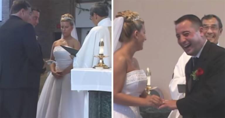 Erau la sfârșit, preotul mai trebuia să-i declare căsătoriți, dar mirele s-a întors și a văzut ceva care a făcut toată biserica să se zguduie de râs. Așa ceva la o nuntă nu se poate! Preotul se închina cu lacrimi în ochi. Totul a fost filmat, uite ce li s-a întâmplat: